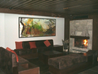Fireplace lounge at Hotel Eleven
